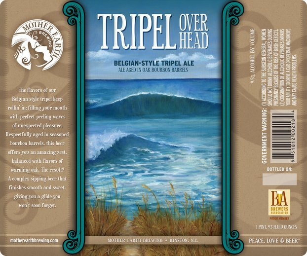 A mock up of the BA logo on Mother Earth's Belgian-Style Tripel ale called Triple Overhead.