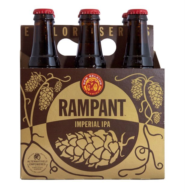 A burly and bitter imperial IPA, Rampant is one of the intensely hoppy New Belgium beers that uses the dry hopping dose skid to saturated the brew with Mosaic, Calypso and Centennials hops.