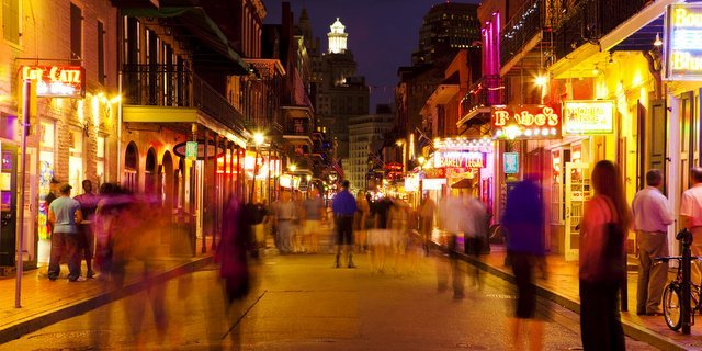 New Orleans Bourbon Street at Night