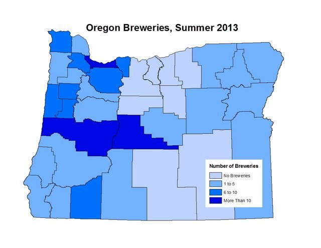 Oregon breweries map