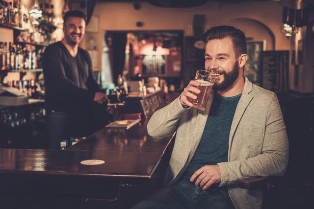bar beer happy guy drinking