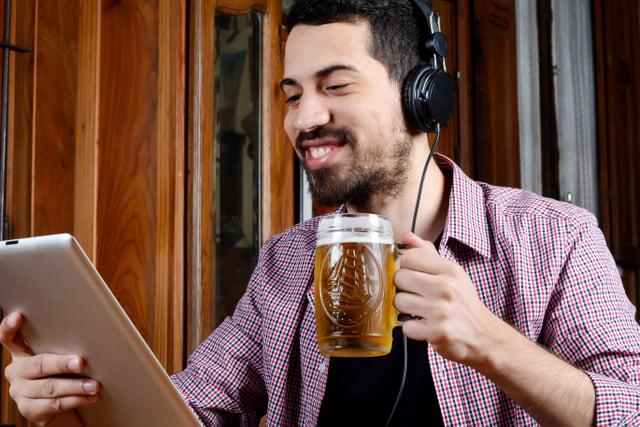 beer drinker headphones computer listening