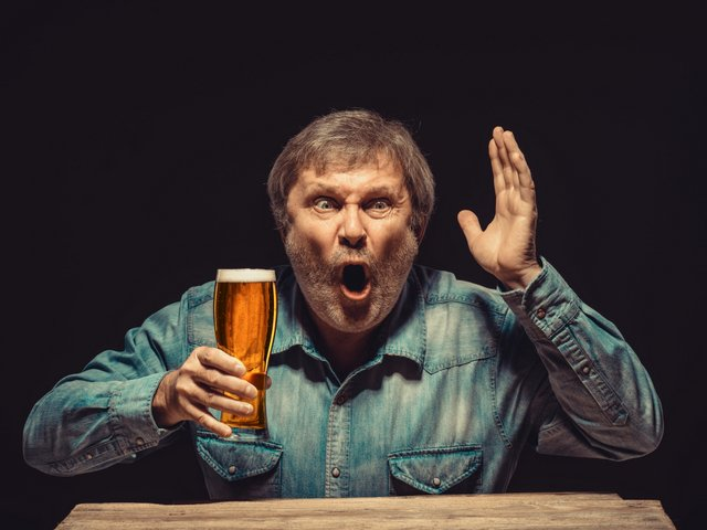 beer drinker surprised angry