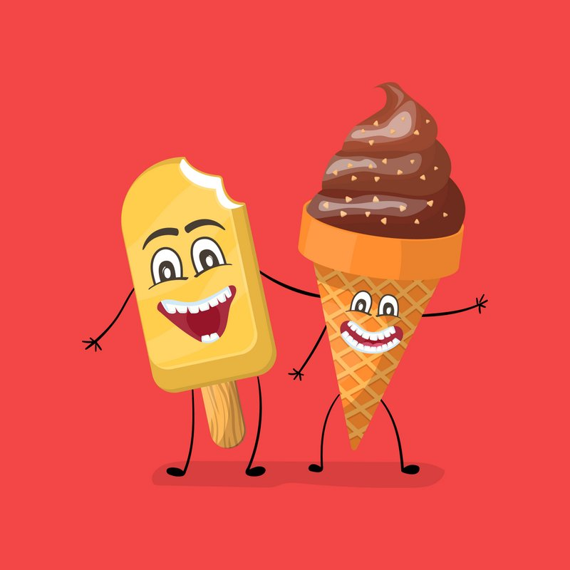 ice cream anthropomorphic scary smiling dancing food cartoon